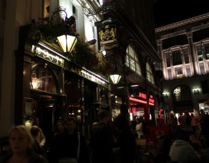 The Argyll Arms at night.