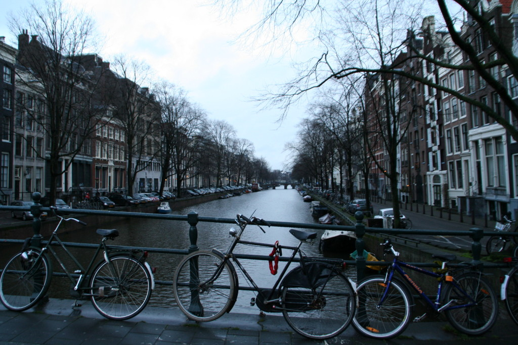 When in Amsterdam make sure to securely lock up your bike. Loop the chain through the frame AND front wheel. The fences alongside canals make for a great place to lock up.
