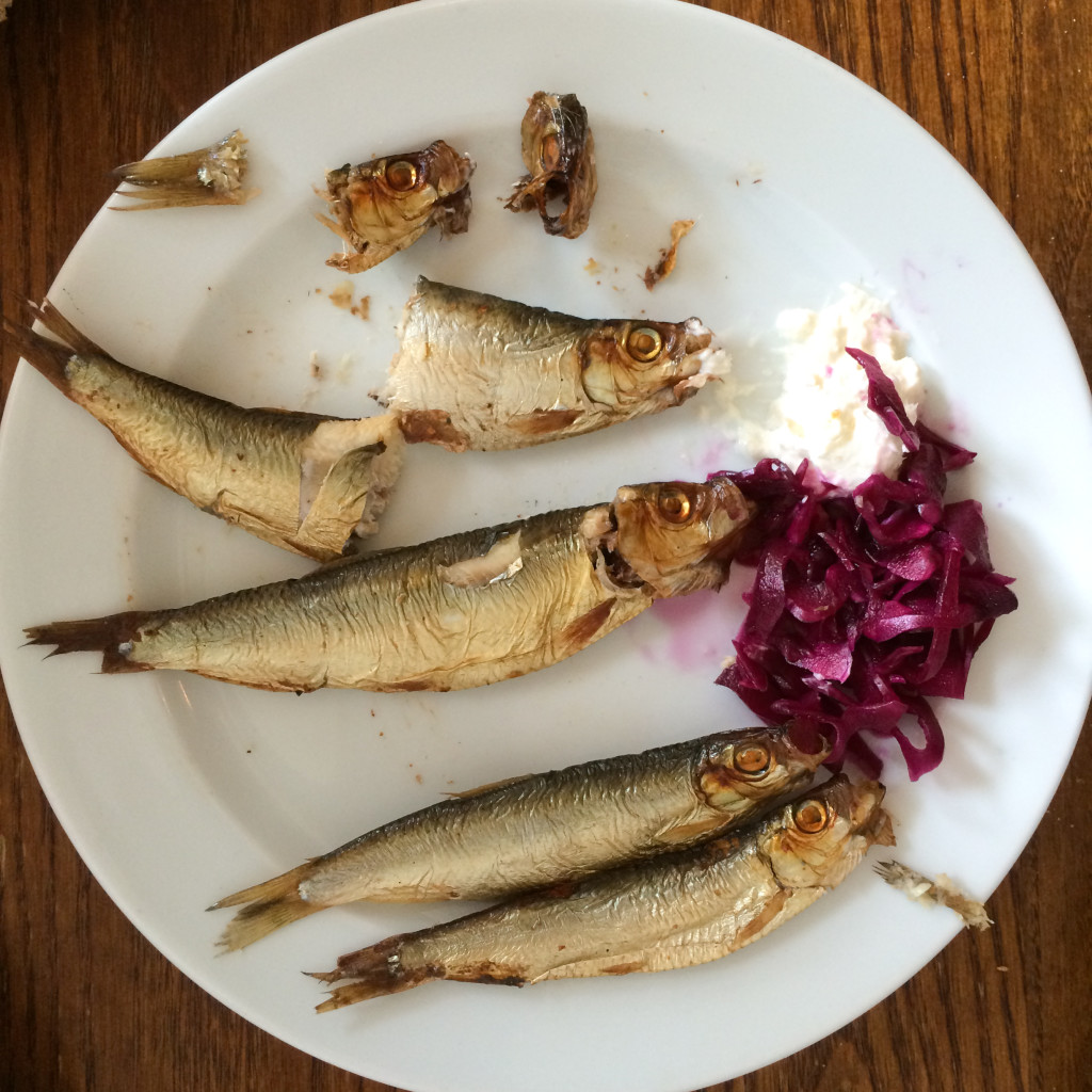 Sprats with pickled cabbage and creme fresh at St. John's Bread and Wine.