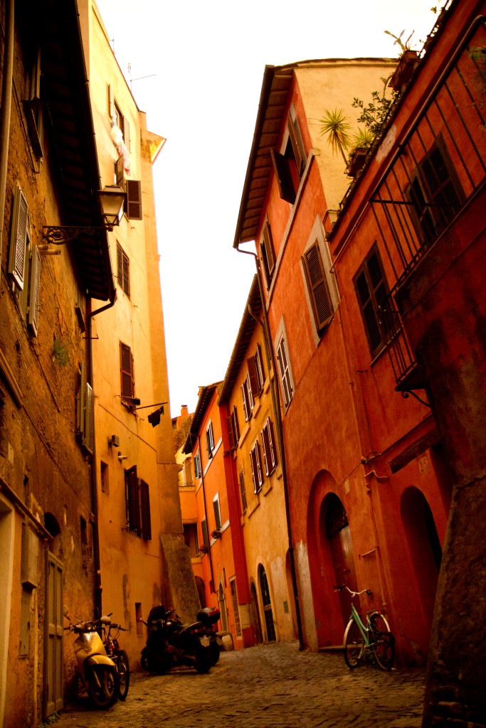 When I think of Rome in the winter I think of the way the February sun made Trastevere's buildings glow.