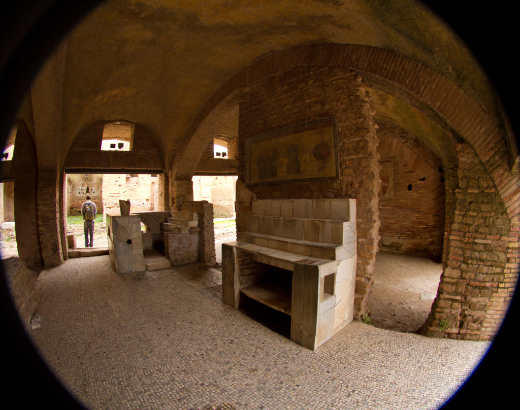 Inside an ancient tavern in Ostia Antica.