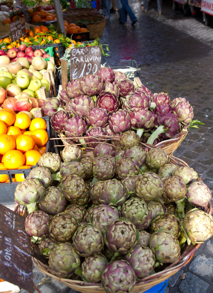 When in Rome, eat seasonally. In the late winter, that means artichokes and puntarelle.