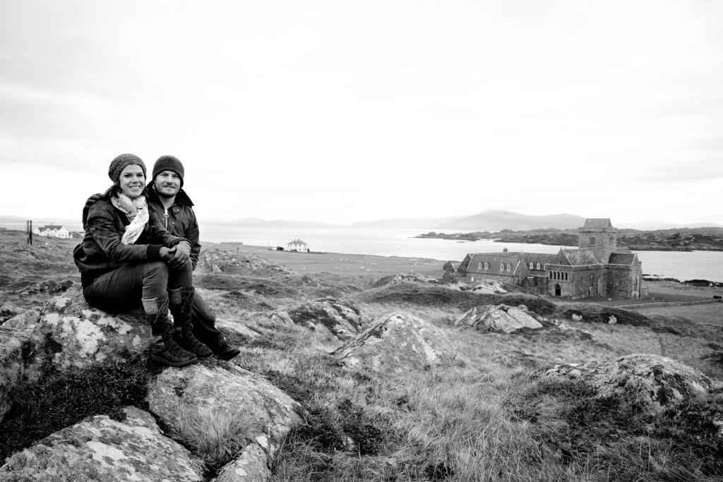 High on a hill in a sheep field with the Iona Cathedral in the background