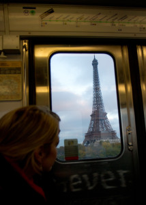 Catching a view of the Eiffel Tower from the Metro