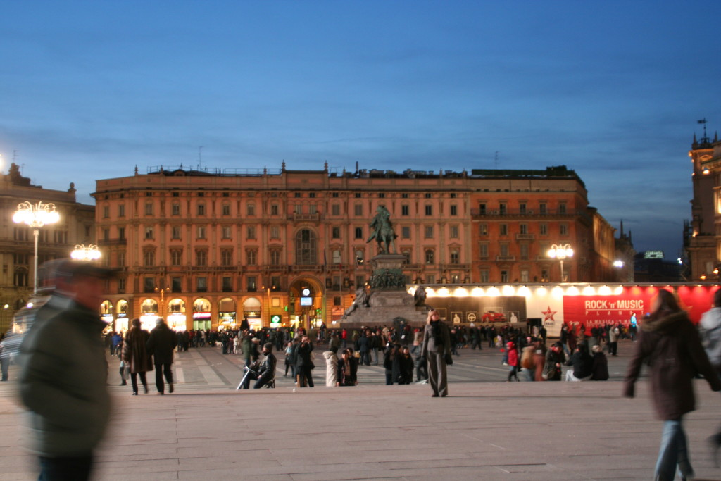 The main square at night.