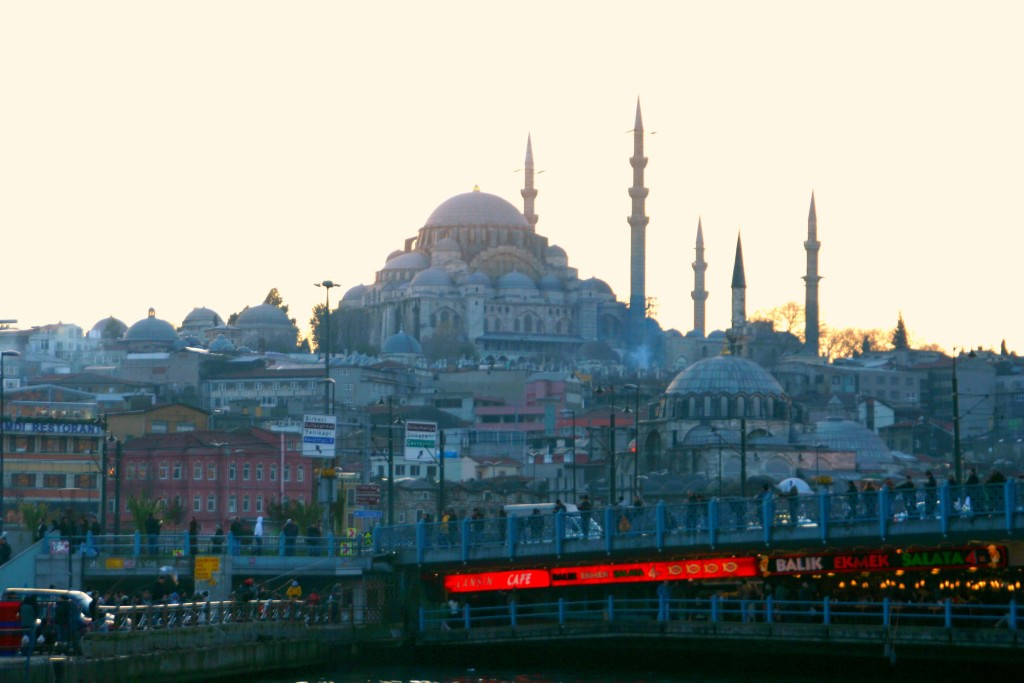 View of the New Mosque with Galata Bridge in the front.